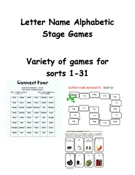 Words Their Way Letter Name Alphabetic Stage Games   Bundle 1 31