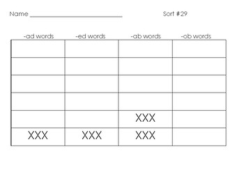 Words Their Way- Letter Name-Alphabetic sort & spell no.29