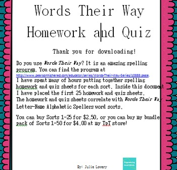 Words Their Way Letter Name Spelling Homework and Quiz for Sorts 1-25