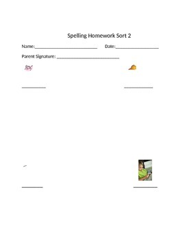 Words Their Way Letter Name Spelling Homework and Quiz for Sorts 1-50