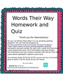 Words Their Way Letter Name Spelling Homework and Quiz for