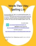 Words Their Way Letter Name Spelling Words for Sorts 1-20