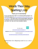 Words Their Way Letter Name Spelling Words for Sorts 1-50
