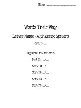 Words Their Way - Letter Name/Alphabetic Spellers - Sort 13-17 {sort book}
