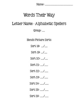 Words Their Way - Letter Name/Alphabetic Spellers - Sort 18-23 {sort book}
