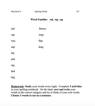 Words Their Way: Letter Naming spelling list and activities