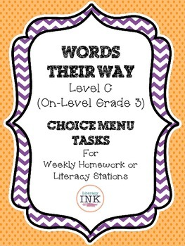 Words Their Way Level C - Word Study Choice Menu