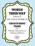 Words Their Way Level D - Word Study Choice Menu