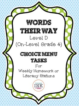 Words Their Way Level D - Word Study Choice Menu