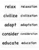 Words Their Way (Level E ) Sort 10: Words Cards for Memory