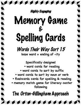 Words Their Way (Level E ) Sort 15: Words Cards for Memory