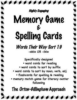 Words Their Way (Level E ) Sort 19: Syllable Cards & Words