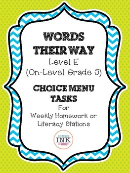 Words Their Way Level E - Word Study Choice Menu