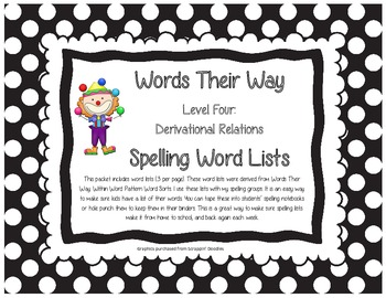 Words Their Way Level Four Derivational Relations  Spelling Word Lists