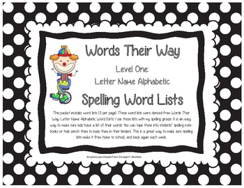 Words Their Way Level One Letter Name Alphabetic Spelling Word Lists