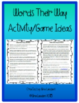 Words Their Way List of Activity/Game Ideas