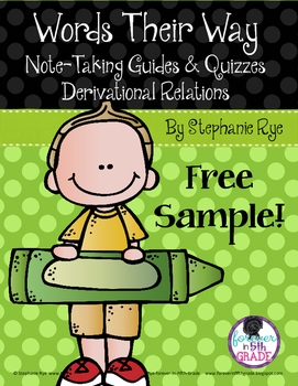 Words Their Way Note-Taking Guides/Quizzes Derivational Relations - Free Sample