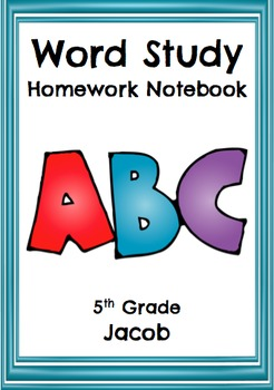 Word Study Notebook Covers