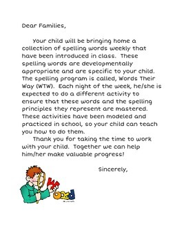 Words Their Way Parent Letter