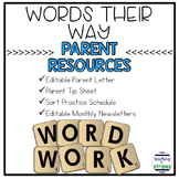Editable Words Their Way Parent Resources and Monthly Newsletters