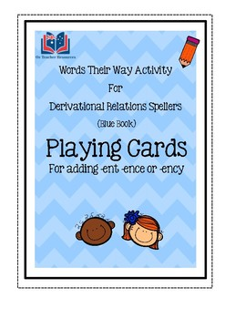 Words Their Way Playing Cards for adding –ent, -ence or -ency