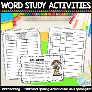 Words Their Way Printable Spelling & Sorting Activities