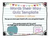 Words Their Way Quiz Template: Syllables & Affiexes
