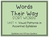 Words Their Way - SAS Sort Words Unit 4