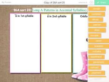 Words Their Way- SYLLABLES & AFFIXES sorts 1-28 iPad STICK AROUND app