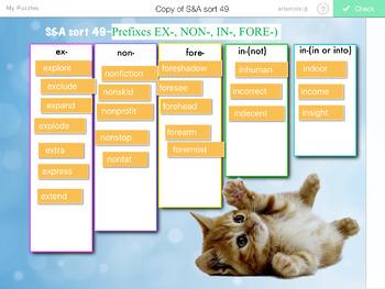 Words Their Way- SYLLABLES & AFFIXES sorts 29-55 iPad STICK AROUND app