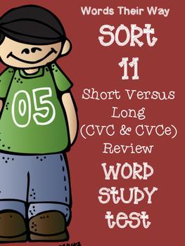 Words Their Way Sort 11 Word Study / Spelling Test
