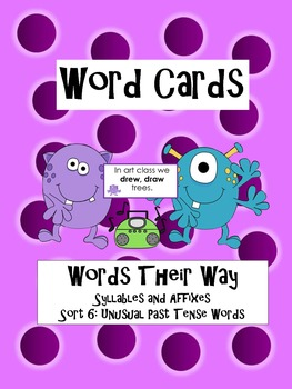 Words Their Way: Sort 6 Unusual Plurals Word Card Center