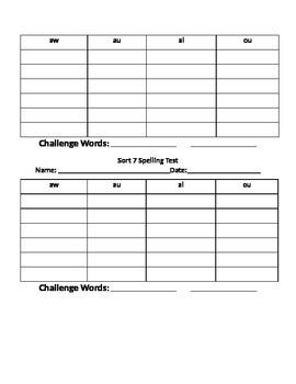 Words Their Way Sort 7 Spelling Word Sort List & Test Template
