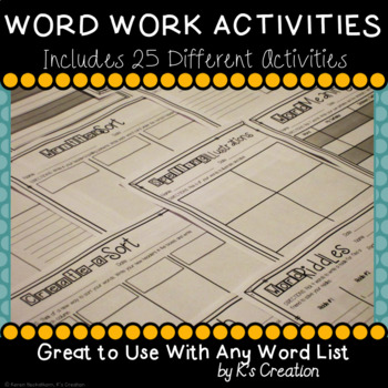 Word Work Sort Activities