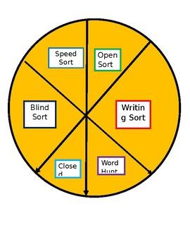 Words Their Way: Sorting wheel