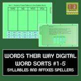 Words Their Way Digital Spelling Sorts #1-5 Syllables & Affixes FREE