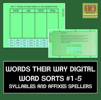 Words Their Way Sorts #1-5 for the Smartboard - Syllables