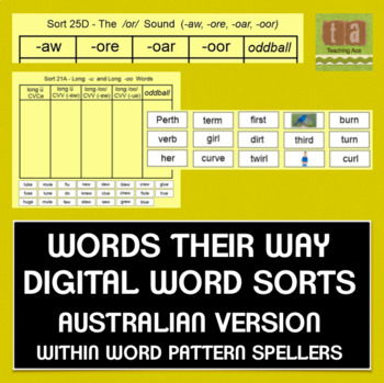 Words Their Way Sorts for Smartboard -AUSTRALIAN VERSION- Within Word Pattern