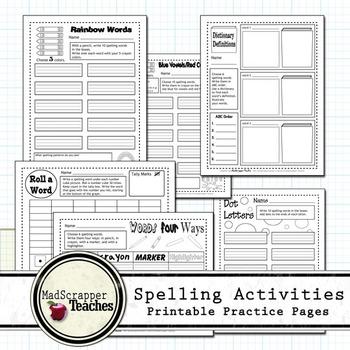 Printable Spelling Activities Independent Practice and Homework
