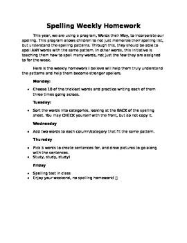 Words Their Way Spelling Homework Letter