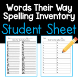 Words Their Way Spelling Inventory- Student Sheet