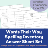 Words Their Way Spelling Inventory Answer Sheet (Spelling Test Sheet) Set