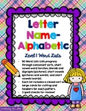 Words Their Way Spelling, Letter Name-Alphabetic Lists and Sorts