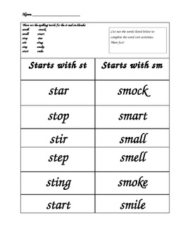 Words Their Way Spelling Lists! Blends word sorts