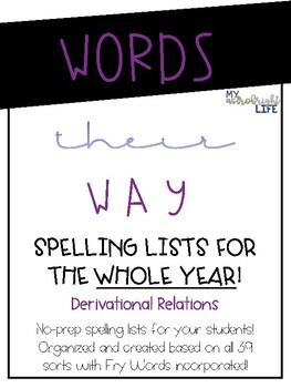 Words Their Way Spelling Lists (Derivational Relations)