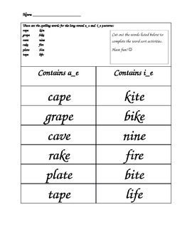 Words Their Way Spelling Lists! Long Vowel word sorts