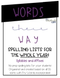 Words Their Way Spelling Lists (Syllables and Affixes)