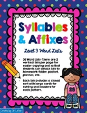 Words Their Way Spelling, Syllables and Affixes Lists and Sorts