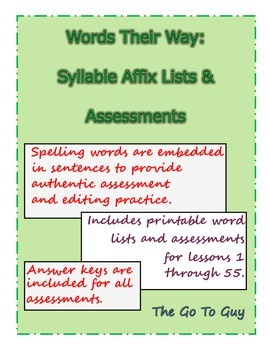 Words Their Way:  Syllable Affix Assessments and Word Lists (Two Weeks Free)