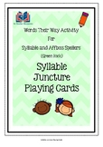 Words Their Way Syllable Juncture Playing Cards